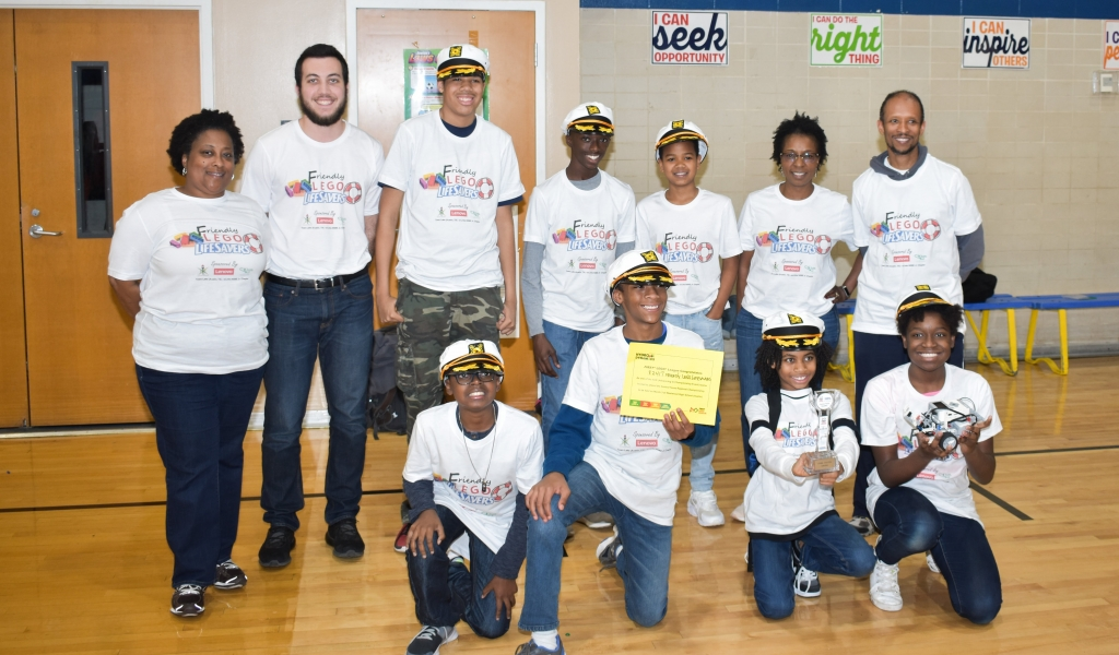 The TLL NSBE Jr. team at the First Lego League competition